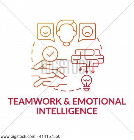 Teamwork And Emotional Intelligence Red Gradient Concept Icon. Workplace Cooperation. Communication