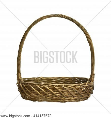 Wicker Gift Basket (with Clipping Path) Isolated On White Background