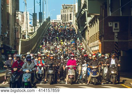 February 24, 2021: Motorcycle Waterfall At Taipei Bridge, Taiwan. According To Official Government D