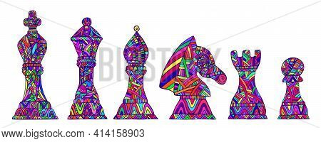 Colorful Set With King, Queen, Bishop, Knight, Rook And Pawn Chess Pieces, Each Figure With Its Own