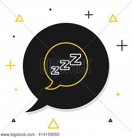 Line Speech Bubble With Snoring Icon Isolated On White Background. Concept Of Sleeping, Insomnia, Al