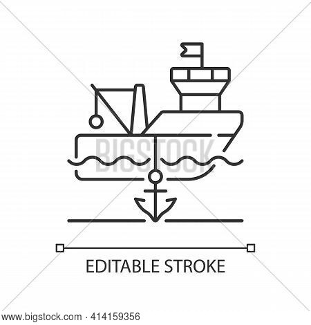 Anchored Ship Linear Icon. Anchorage. Anchoring Operation. Holding Vessel In Same Place. Thin Line C