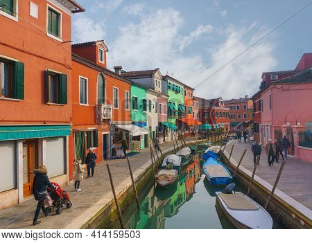 Venice, Italy - February 2020. A Colorful Traditional Fishing Town. Burano Is An Island Near Venice.