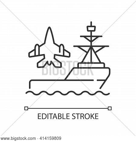 Aircraft Carrier Linear Icon. Seagoing Airbase. Place For Aircraft Launching And Landing. Warship. T
