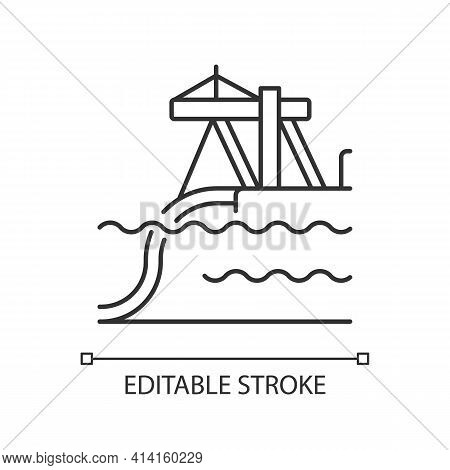 Underwater Pipeline Installation Linear Icon. Laying Pipe On Seabed. Buried Infrastructure. Thin Lin