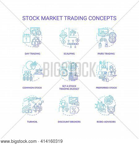 Stock Market Trading Concept Icons Set. Investing In Stock Idea Thin Line Rgb Color Illustrations. B