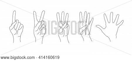 A Set Of Hand Gesture Symbols - A Number On The Fingers. Numbers One, Two, Three, Four, Five Indicat