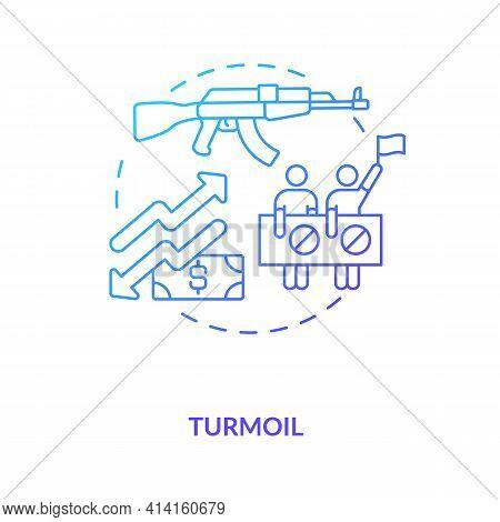 Turmoil Concept Icon. International Stocks Challenge Idea Thin Line Illustration. Recession-friendly