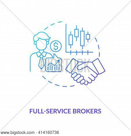Full-service Brokers Concept Icon. Broker Type Idea Thin Line Illustration. Full-service Brokerage.
