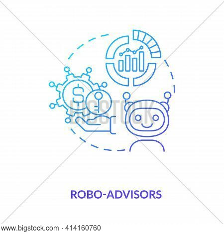 Robo-advisors Concept Icon. Broker Type Idea Thin Line Illustration. Low-cost Financial Researches,