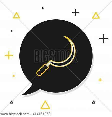 Line Sickle Icon Isolated On White Background. Reaping Hook Sign. Colorful Outline Concept. Vector