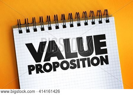 Value Proposition Text Quote On Notepad, Concept Background