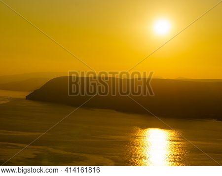 Coastal Landscape At Sunset. Mesa Roldan Headland In Almeria Spain