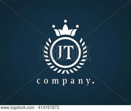 Letter Jt, J Or T Calligraphic And Crown Monogram. Laurel Elegant Beautiful Round Identity. The Vint