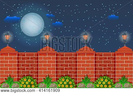 Fence Against The Night Sky. Rural Fence With Pillars Of Red Bricks, Lamps, Plants And Sky With Moon