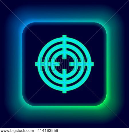 Glowing Neon Line Target Sport For Shooting Competition Icon Isolated On Black Background. Clean Tar