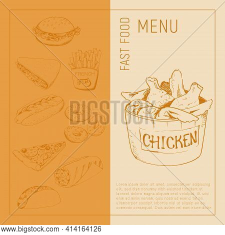 Sketch Image Of Chicken Wings In The Style Of A Sketch On A Craft Background. Fast Food Menu - Hot D