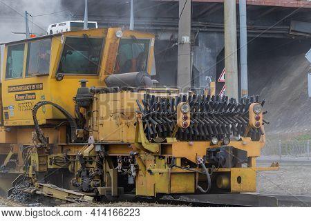 Kyiv Ukraine - April 27 2020:  Technical Railway Train For The Repair Of The Railway Line. Reconstru