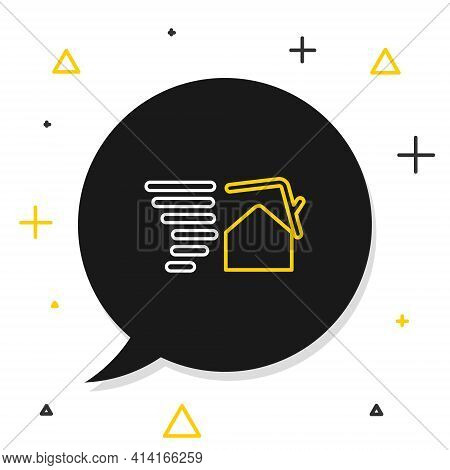 Line Tornado Swirl Damages House Roof Icon Isolated On White Background. Cyclone, Whirlwind, Storm F