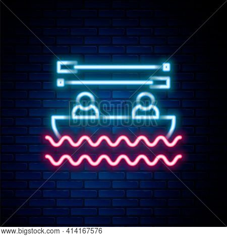 Glowing Neon Line Boat With Oars And People Icon Isolated On Brick Wall Background. Water Sports, Ex