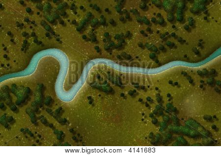 Bird's Eye View of a Biking Hiking Trail Background poster
