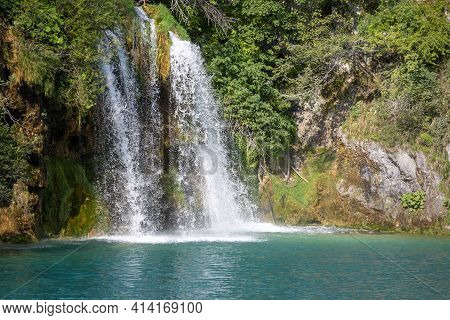 Plitvice Lakes National Park, A Miracle Of Nature, Beautiful Landscape With Waterfall, Croatia