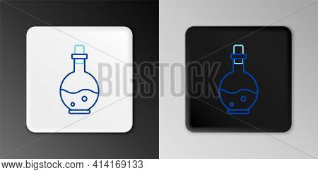 Line Glass Bottle With Magic Elixir Icon Isolated On Grey Background. Computer Game Asset. Colorful