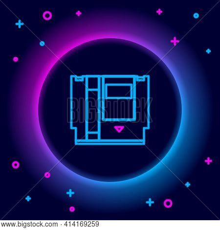 Glowing Neon Line Cartridge For Retro Game Console Icon Isolated On Black Background. Tv Game Cartri