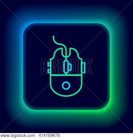 Glowing Neon Line Computer Mouse Gaming Icon Isolated On Black Background. Optical With Wheel Symbol
