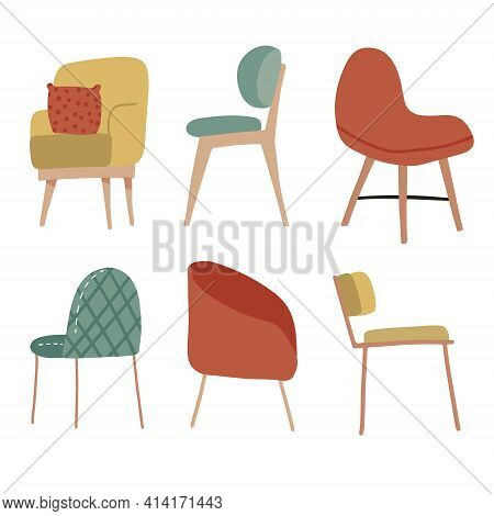 Set Of Hand Drawn Cosy Soft Chairs. Collection Of Scandinavian Places. Vector Flat Hand Drawn Illust