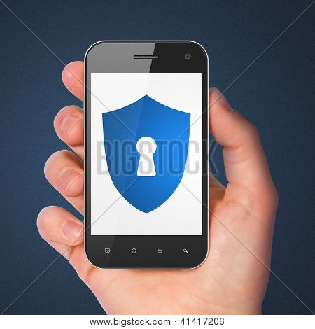 Safety concept: smartphone with Shield With Keyhole.