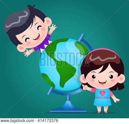 Illustration Vector Graphic Of Smiley Girl Pointing And Boy Learning With The World Globe Illustrati