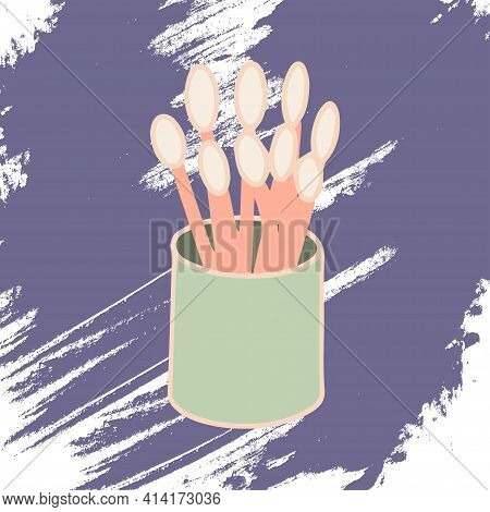 Cotton Buds On An Artistic Colored Background. Makeup Collection. Vector.