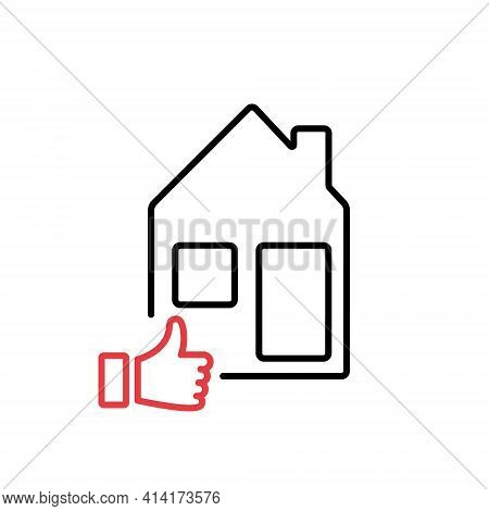 Real Estate Review Of Quality. Feedback, Evaluation Of Real Estate Line Icon. Property Valuation Lin