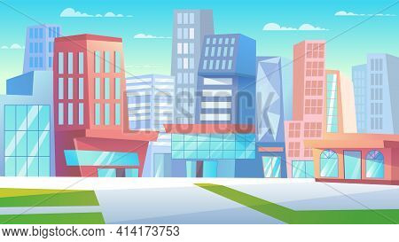 Cityscape Landing Page In Flat Cartoon Style. City Street With Skyscrapers, Buildings Of Business Ce