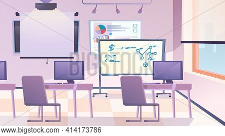Classroom Interior Landing Page In Flat Cartoon Style. Room With Desktops, Chairs, Computers, Presen