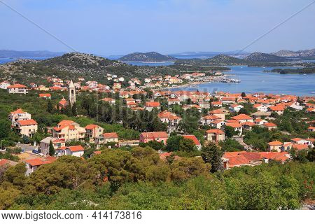 Murter Island, Croatia - Mediterranean Coast Landscape In Dalmatia. Adriatic Sea View - Town Murter.