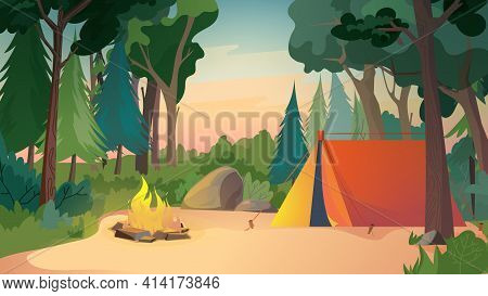 Camping On Meadow, Landing Page In Flat Cartoon Style. Tent At Forest Place, Campfire And Trees. Out