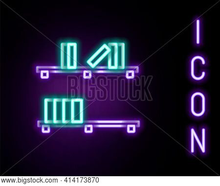 Glowing Neon Line Shelf With Books Icon Isolated On Black Background. Shelves Sign. Colorful Outline