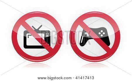 No computer games, no tv warning signs - vector