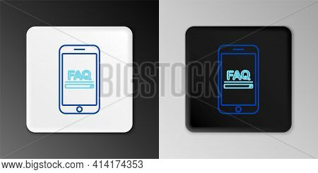 Line Mobile Phone With Text Faq Information Icon Isolated On Grey Background. Frequently Asked Quest