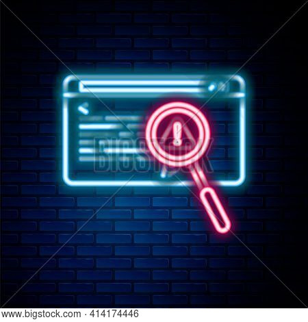 Glowing Neon Line System Bug Concept Icon Isolated On Brick Wall Background. Code Bug Concept. Bug I