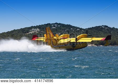 Sibenik, Croatia - June 25, 2011: Bombardier Cl-415 Water Bomber Aircraft Near Sibenik, Croatia. Cl-