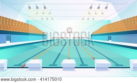 Swimming Pool Landing Page In Flat Cartoon Style. Modern Indoor Stadium Pool With Lanes And Tribune.