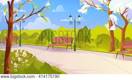 City Park At Springtime, Landing Page In Flat Cartoon Style. Public Garden Place, Blooming Trees, Be