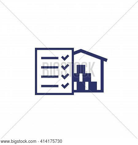 Inventory, Warehouse And Checklist Icon On White