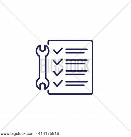 Service List Line Icon With A Checklist
