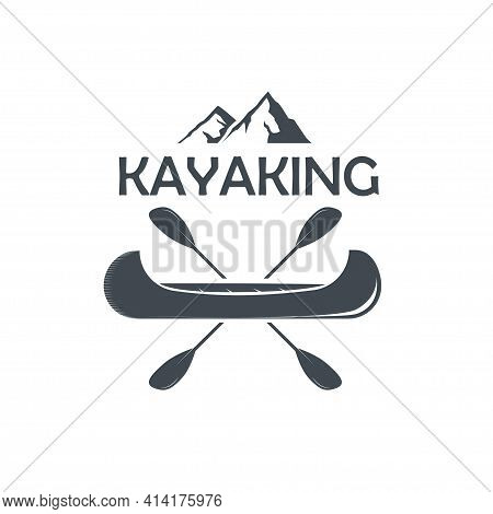Silhouette Of A Kayak With A Paddles Crossed And Mountains On The Top On A Transparent Background.