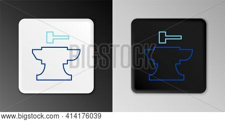 Line Anvil For Blacksmithing And Hammer Icon Isolated On Grey Background. Metal Forging. Forge Tool.