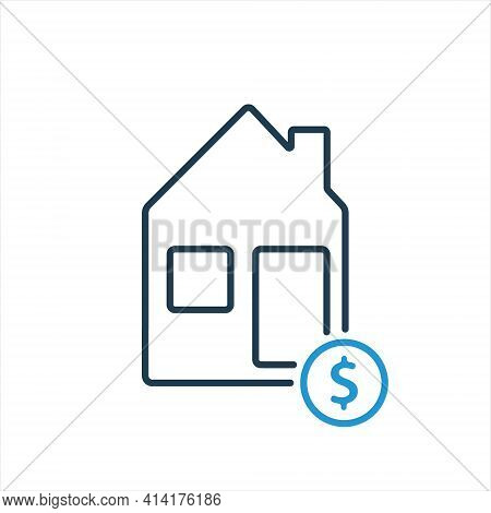 House And Dollar Coin Line Icon. Mortgage And House Loan Concept. Sell Or Rent Of House Line Icon. V